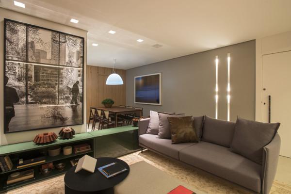 28 salas de tv decoradas com fotos para te inspirar for Sala estilo contemporaneo