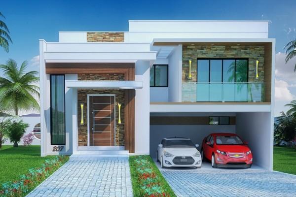 46 fachadas de sobrados modernos for Casa moderna jardin d el menzah