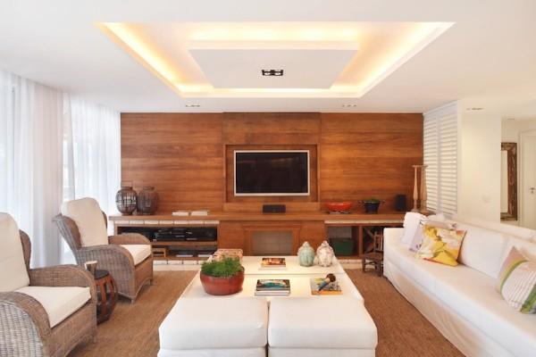 28 salas de tv decoradas com fotos para te inspirar -> Decoração De Sala De Estar Com Painel De Tv