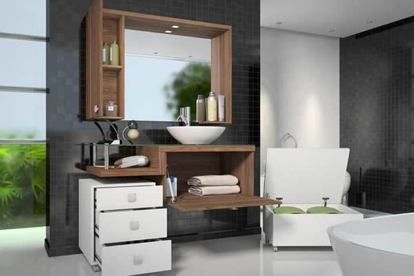 27 modelos de armários de banheiro planejado -> Armario Para Banheiro Na Dicico