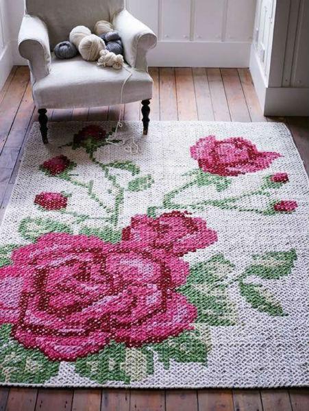Tapete deBarbante com flores