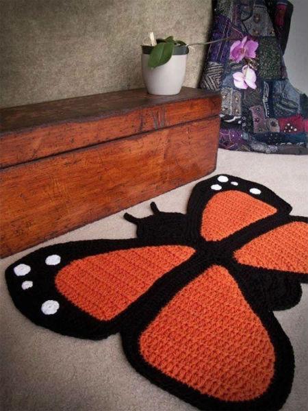 Tapete deBarbante com formato de borboleta