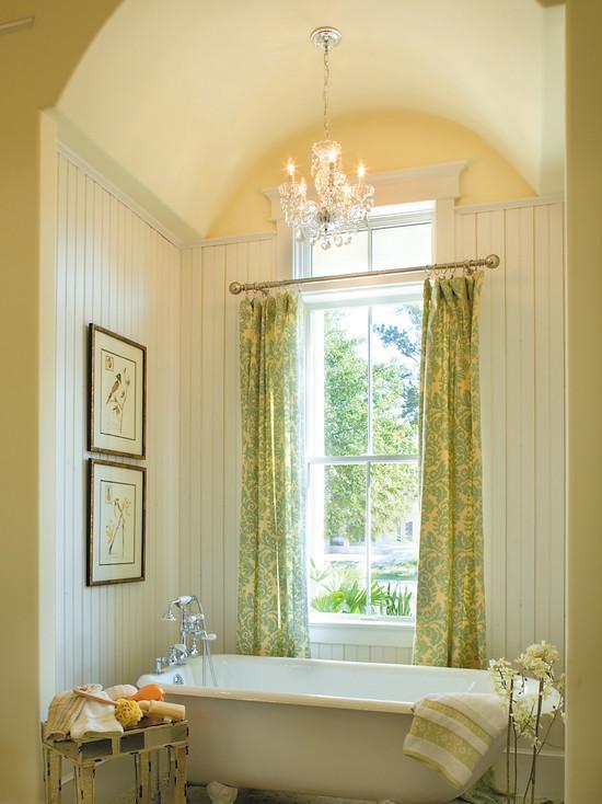banheiro rustico com cortinas