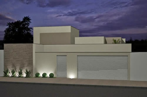 Fachadas de muros modernos de 50 fotos de modelos de for Modelos fachadas para frente casa
