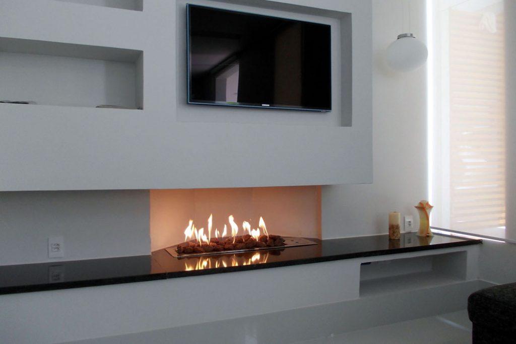 Lareira para sala de estar: a gás, o visual é mais moderno