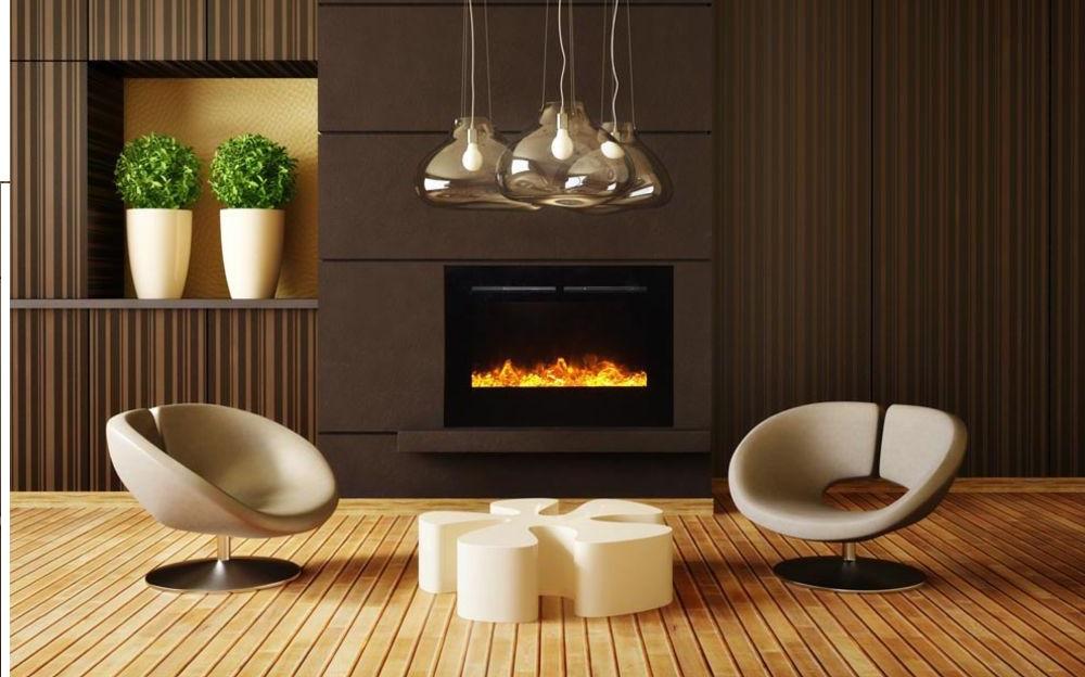 Lareira na sala de estar: os modelos elétricos são práticos