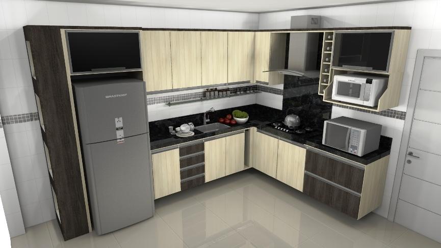 cozinha planejada compacta no canto da parede