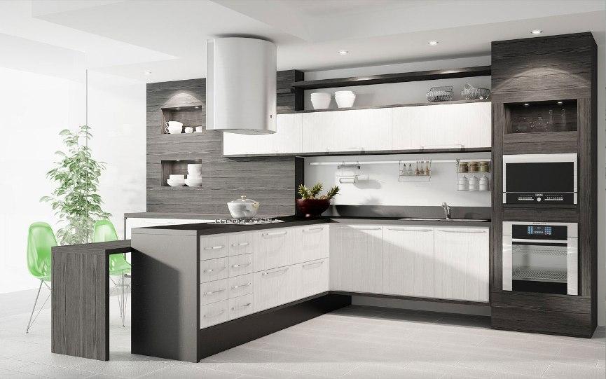 cozinha planejada em MDF branco e cinza