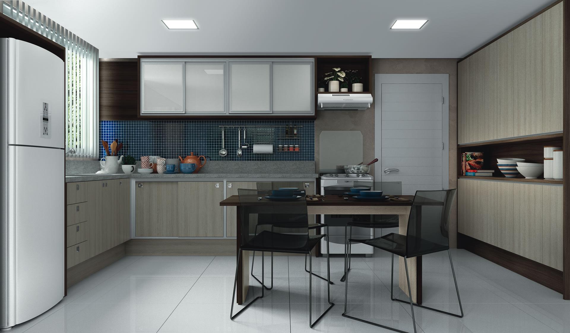 cozinha ampla planejada com espaço do meio aberto